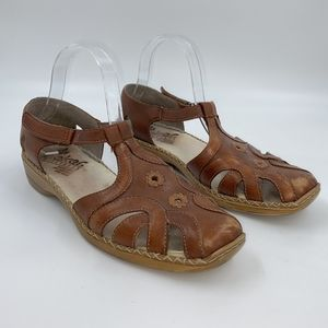 Rieker Leather T-Strap Shoes Sz 41